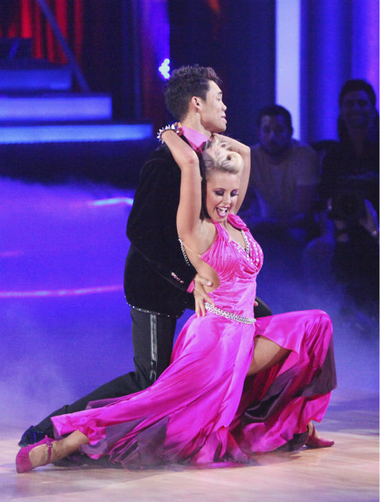 Disney Channel star Roshon Fegan and his partner Chelsie Hightower received 26 out of 30 points from the judges for their Viennese Waltz on week 4 of 'Dancing With The Stars' on April 9, 2012.
