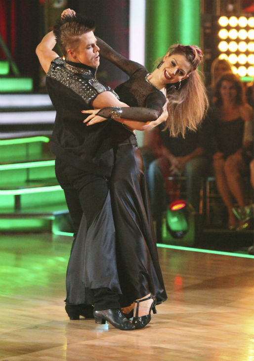 TV personality Maria Menounos and her partner Derek Hough received 26 out of 30 points from the judges for their Tango on week 4 of 'Dancing With The Stars' on April 9, 2012.