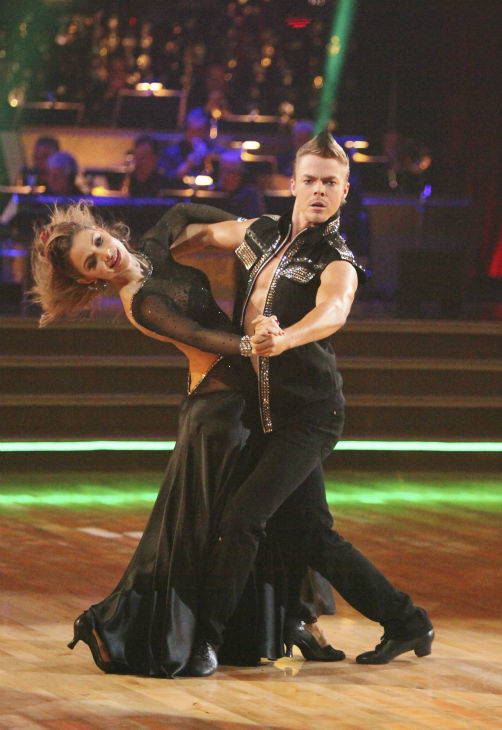 "<div class=""meta image-caption""><div class=""origin-logo origin-image ""><span></span></div><span class=""caption-text"">TV personality Maria Menounos and her partner Derek Hough received 26 out of 30 points from the judges for their Tango on week 4 of 'Dancing With The Stars' on April 9, 2012. (ABC Photo / Adam Taylor)</span></div>"