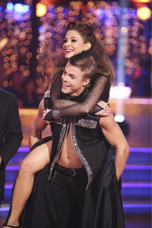 "<div class=""meta ""><span class=""caption-text "">TV personality Maria Menounos and her partner Derek Hough received 26 out of 30 points from the judges for their Tango on week 4 of 'Dancing With The Stars' on April 9, 2012. (ABC Photo / Adam Taylor)</span></div>"