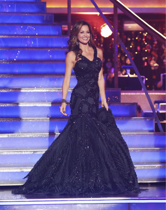 "<div class=""meta ""><span class=""caption-text "">Co-host Brooke Burke appears on the premiere of 'Dancing With The Stars: All-Stars' on September 24, 2012. (ABC / Adam Taylor)</span></div>"