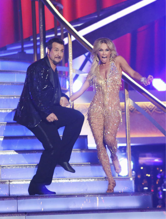 "<div class=""meta ""><span class=""caption-text "">Former member of the boy band 'N Sync, Joey Fatone and his partner Kym Johnson received 20.5 out of 30 points from the judges for their Cha Cha Cha on the season premiere of 'Dancing With The Stars: All-Stars,' which aired on September 24, 2012.  (ABC Photo/ Adam Taylor)</span></div>"