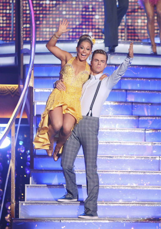 "<div class=""meta ""><span class=""caption-text "">Olympic gymnast Shawn Johnson and her partner Derek Hough received 22 out of 30 points from the judges for their Fox Trot on the season premiere of 'Dancing With The Stars: All-Stars,' which aired on September 24, 2012.  (ABC / Adam Taylor)</span></div>"