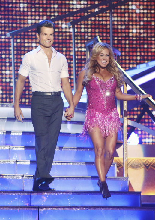 Disney Channel actress Sabrina Bryan and her partner Louis Van Amstel received 22.5 out of 30 points from the judges for their Cha Cha Cha on the season premiere of &#39;Dancing With The Stars: All-Stars,&#39; which aired on September 24, 2012.  <span class=meta>(ABC &#47; Adam Taylor)</span>
