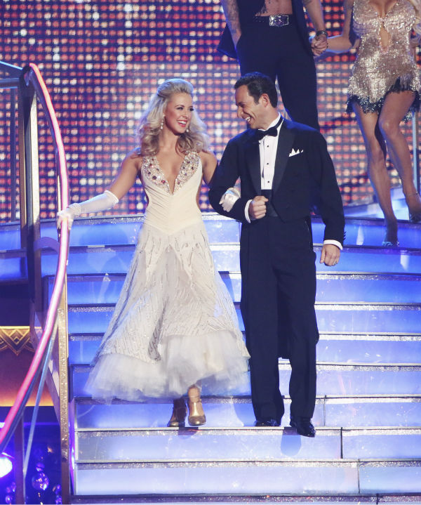 Brazilian auto racing driver Helio Castroneves and his partner Chelsie Hightower received 21.5 out of 30 points from the judges for their Fox Trot on the season premiere of &#39;Dancing With The Stars: All-Stars,&#39; which aired on September 24, 2012.  <span class=meta>(ABC &#47; Adam Taylor)</span>