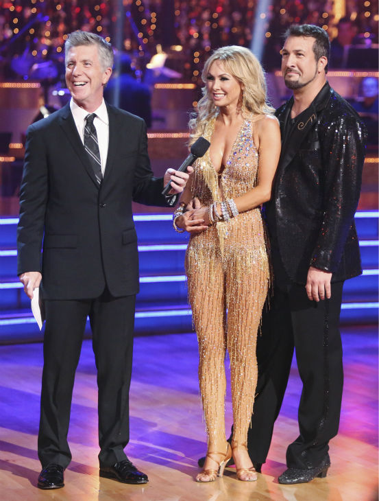 Former member of the boy band &#39;N Sync, Joey Fatone and his partner Kym Johnson received 20.5 out of 30 points from the judges for their Cha Cha Cha on the season premiere of &#39;Dancing With The Stars: All-Stars,&#39; which aired on September 24, 2012. Also pictured: emmy-winning co-host Tom Bergereon. <span class=meta>(ABC &#47; Adam Taylor)</span>