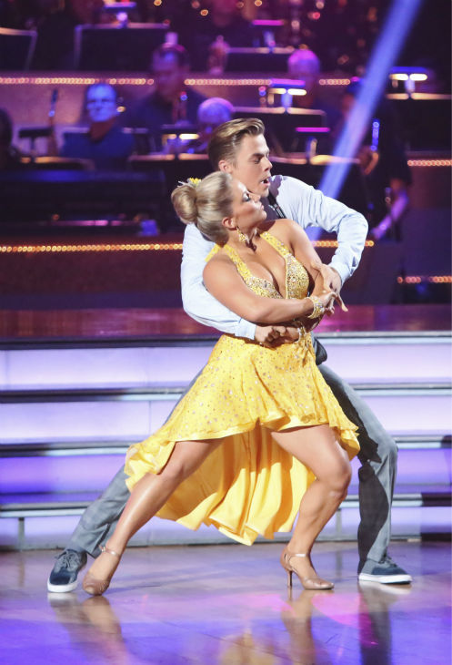 "<div class=""meta ""><span class=""caption-text "">Olympic gymnast Shawn Johnson and her partner Derek Hough received 22 out of 30 points from the judges for their Fox Trot on the season premiere of 'Dancing With The Stars: All-Stars,' which aired on September 24, 2012.  (ABC Photo/ Adam Taylor)</span></div>"