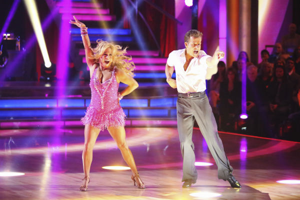 Sabrina Bryan and Louis Van Amstel appear in a still from 'Dancing Wi