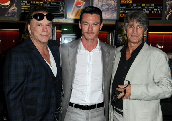 "<div class=""meta ""><span class=""caption-text "">Actors Mickey Rourke, Luke Evans and Eric Roberts attend Mickey Rourke's Hand and Footprint Ceremony held at Grauman's Chinese Theatre on Oct. 31, 2011 in Hollywood, California.  (Getty Images / Royalty-free / Frazer Harrison)</span></div>"