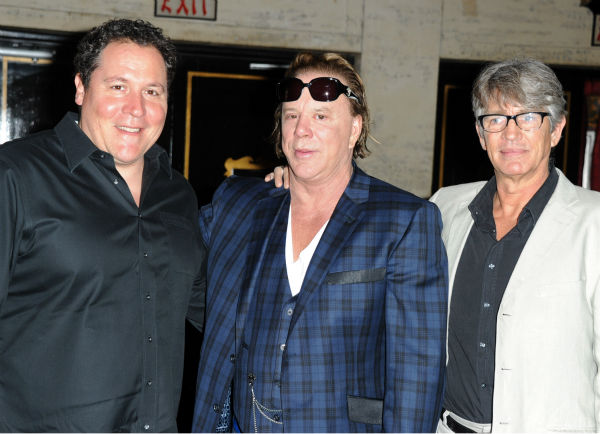 Actors Jon Favreau, Mickey Rourke and Eric Roberts attend Mickey Rourke's Hand and Footprint Ceremony held at Grauman's Chinese Theatre on October 31, 2011 in Hollywood, California.