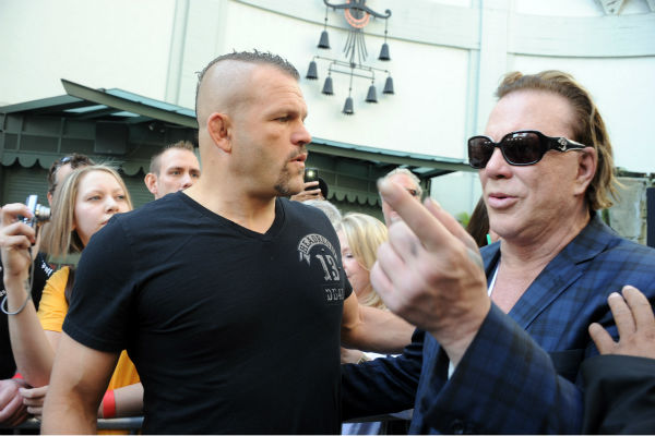 "<div class=""meta ""><span class=""caption-text "">Former Ultimate Fighting Championship light heavyweight Chuck Liddell and actor Mickey Rourke attend Micky Rourke's Hand and Footprint Ceremony held at Grauman's Chinese Theatre on Oct. 31, 2011 in Hollywood, California. (Getty Images / Royalty-free / Frazer Harrison)</span></div>"