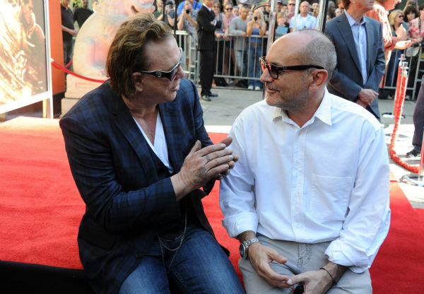 Actor Mickey Rourke and producer Gianni Nunnari attend Micky Rourke&#39;s Hand and Footprint Ceremony held at Grauman&#39;s Chinese Theatre on Oct. 31, 2011 in Hollywood, California. <span class=meta>(Getty Images &#47; Royalty-free &#47; Frazer Harrison)</span>