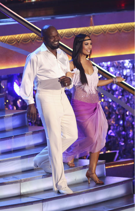 "<div class=""meta ""><span class=""caption-text "">Retired NFL star Emmitt Smith and his partner Cheryl Burke received 36 out of 40 points from the judges for their Bolero on 'Dancing With The Stars: All-Stars' on October 15, 2012.  (ABC Photo / Adam Taylor)</span></div>"