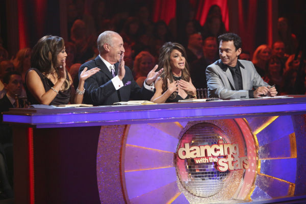 "<div class=""meta image-caption""><div class=""origin-logo origin-image ""><span></span></div><span class=""caption-text"">Judges Carrie Ann Inaba, Len Goodman and Bruno Tonioli and guest judge Paula Abdul (second from right) appear on 'Dancing With The Stars: All-Stars' on October 15, 2012.  (ABC Photo / Adam Taylor)</span></div>"