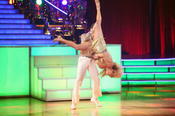 Disney Channel actress Sabrina Bryan and her partner Louis Van Amstel received 35.5 out of 40 points from the judges for their Disco on 'Dancing With The Stars: All-Stars' on October 15, 2012.