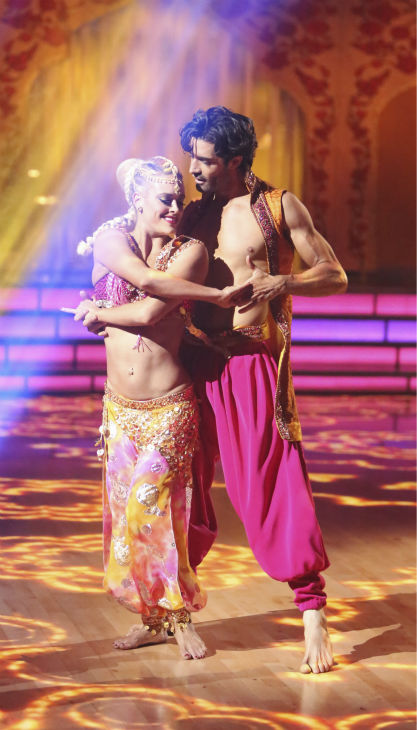 French actor Gilles Marini and his partner Peta Murgatroyd received 39.5 out of 40 points from the judges for their Bollywood on 'Dancing With The Stars: All-Stars' on October 15, 2012.