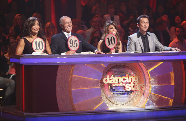 "<div class=""meta ""><span class=""caption-text "">Judges Carrie Ann Inaba, Len Goodman and Bruno Tonioli and guest judge Paula Abdul (second from right) appear on 'Dancing With The Stars: All-Stars' on October 15, 2012.  (ABC Photo / Adam Taylor)</span></div>"