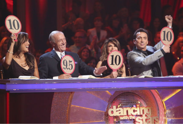 Judges Carrie Ann Inaba, Len Goodman and Bruno Tonioli and guest judge Paula Abdul (second from right) appear on 'Dancing With The Stars: All-Stars' on October 15, 2012.