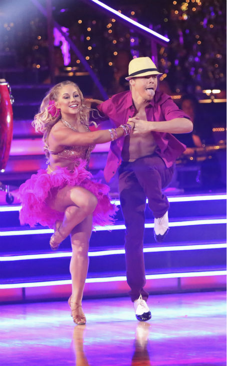 "<div class=""meta image-caption""><div class=""origin-logo origin-image ""><span></span></div><span class=""caption-text"">Olympic gymnast Shawn Johnson and her partner Derek Hough received 39.5 out of 40 points from the judges for their Mambo on 'Dancing With The Stars: All-Stars' on October 15, 2012. (ABC Photo / Adam Taylor)</span></div>"