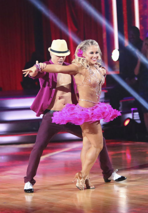Olympic gymnast Shawn Johnson and her partner Derek Hough received 39.5 out of 40 points from the judges for their Mambo on 'Dancing With The Stars: All-Stars' on October 15, 2012.