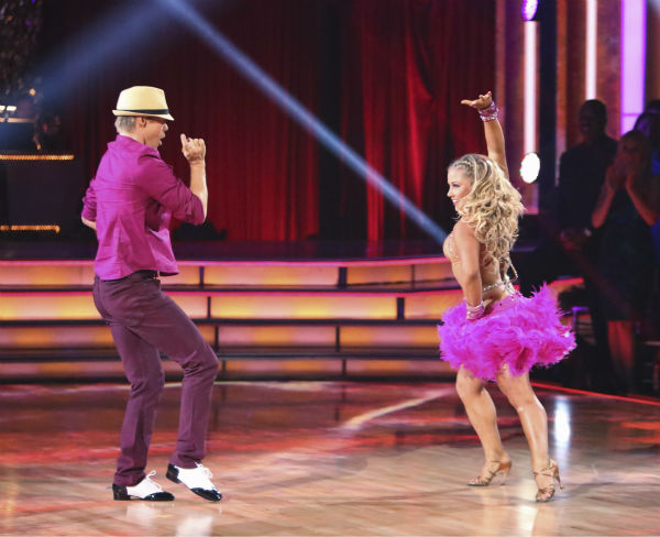 "<div class=""meta ""><span class=""caption-text "">Olympic gymnast Shawn Johnson and her partner Derek Hough received 39.5 out of 40 points from the judges for their Mambo on 'Dancing With The Stars: All-Stars' on October 15, 2012. (ABC Photo / Adam Taylor)</span></div>"