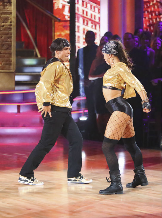 "<div class=""meta ""><span class=""caption-text "">Olympic speed skater Apolo Anton Ohno and his partner Karina Smirnoff received 34.5 out of 40 points from the judges for their Hip-Hop on 'Dancing With The Stars: All-Stars' on October 15, 2012. (ABC Photo / Adam Taylor)</span></div>"