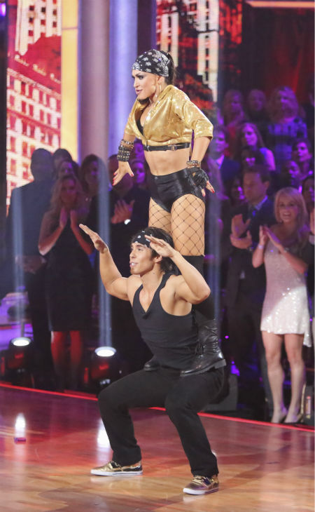Olympic speed skater Apolo Anton Ohno and his partner Karina Smirnoff received 34.5 out of 40 points from the judges for their Hip-Hop on 'Dancing With The Stars: All-Stars' on October 15, 2012.