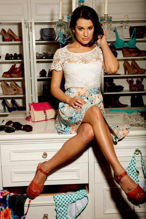 "<div class=""meta ""><span class=""caption-text "">Lea Michele appears in a promotional photo taken for a new ad campaign for Candie's apparel that was unveiled in Jan. 25, 2012.  (Candie's / Michael Kovac)</span></div>"