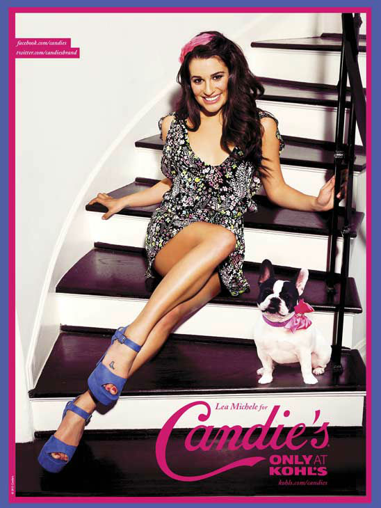 Lea Michele poses in an ad for Candie's Spring...