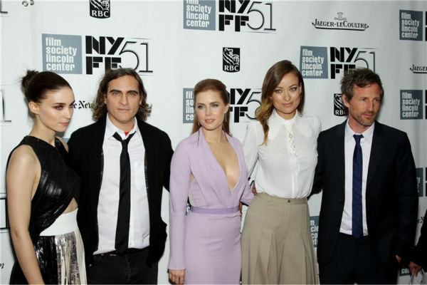L-R: Rooney Mara, Joaquin Phoenix, Amy Adams, Olivia Wilde and director Spike Jonze attend the closing night gala presentation of 'Her. A Spike Jonze Love Story' at the 2013 New York Film Festival on Oct. 12, 2013.