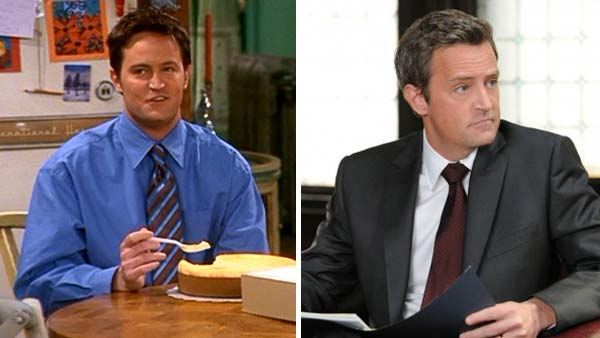 Left -- Matthew Perry appears in a still from 'Friends.' Right -- Matthew Perry appears in a still from 'The Good Wife.'
