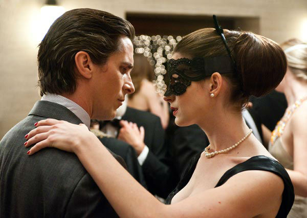 Christian Bale appears as Batman and Anne Hathaway appears as Selina Kyle/Catwoman in 'The Dark Knight Rises,' set to hit theaters on July 20, 2012.