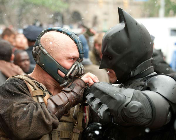 Christian Bale appears as Batman and Tom Hardy appears as Bane in 'The Dark Knight Rises,' set to hit theaters on July 20, 2012.