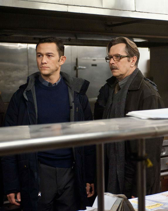 Joseph Gordon-Levitt appears as John Blake and Gary Oldman appears as Commissioner Gordon in 'The Dark Knight Rises,' set to hit theaters on July 20, 2012.