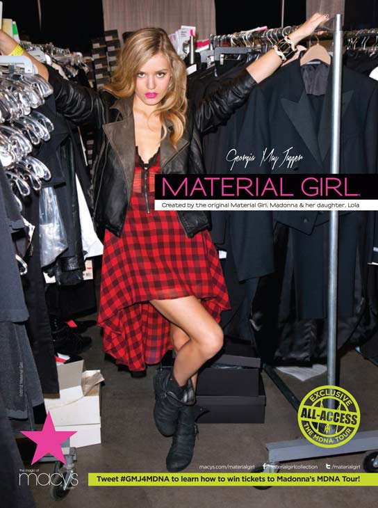 Georgia May Jagger appears in an undated photo for the fall 2012 Material Girl campaign. - Provided courtesy of Material Girl