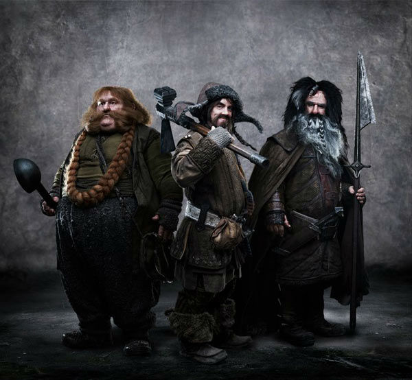 Stephen Hunter appears as Bombur, James Nesbitt as Bofur and William Kircher as Bifur in a promotional photo for 'The Hobbit: An Unexpected Journey,' a 2012 Warner Bros. Pictures release.