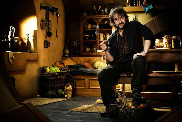 Director Peter Jackson appears on the set of...
