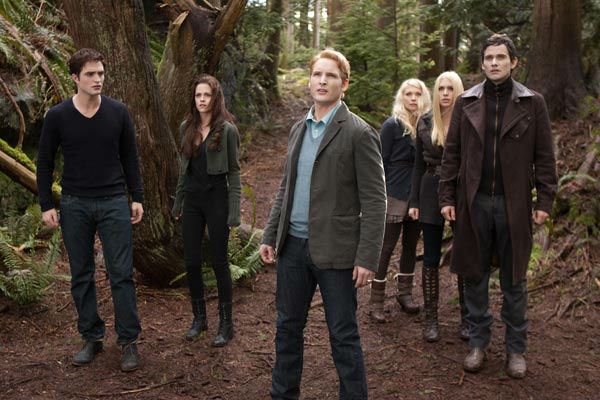 Robert Pattinson, Kristen Stewart, Peter Facinelli, MyAnna Buring, Casey LaBow and Christian Camargo appear in a still from 'The Twilight Saga: Breaking Dawn - Part 2,' which opens in theaters on November 16, 2012.