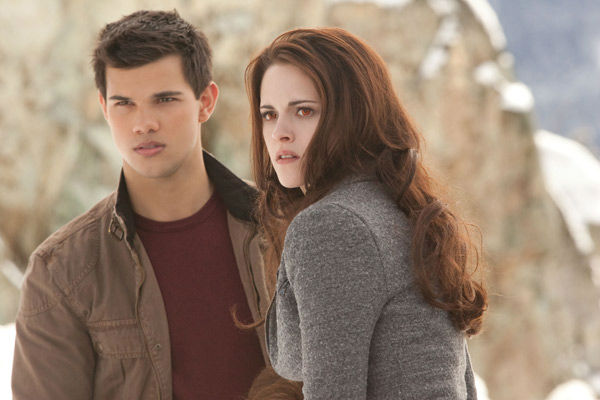 Taylor Lautner and Kristen Stewart appear in a scene from the 2012 movie 'Twilight: Breaking Dawn -