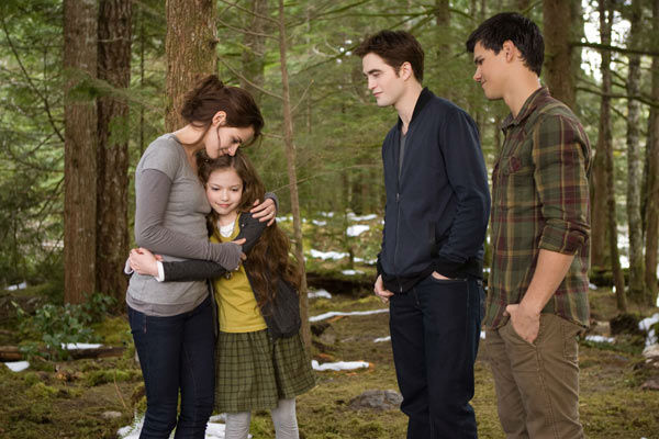 Kristen Stewart, Mackenzie Foy, Robert Pattinson and Taylor Lautner appear in a scene from the 2012 movie 'Twilight: Breaking Dawn - Part 2,' which opens in theaters on November 16, 2012.