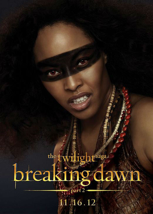 "<div class=""meta ""><span class=""caption-text "">Tracey Heggins who portrays Senna of the Amazon coven in 'The Twilight Saga: Breaking Dawn - Part 2,' appears in a cast poster for the film, which is slated for release on November 16, 2012. (Photo/Summit Entertainment)</span></div>"
