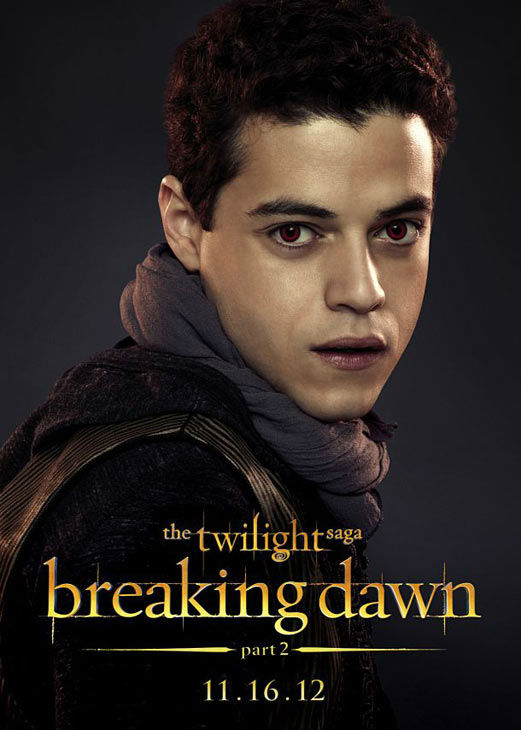 "<div class=""meta ""><span class=""caption-text "">Rami Malek who portrays Benjamin of the Egyptian coven in 'The Twilight Saga: Breaking Dawn - Part 2,' appears in a cast poster for the film, which is slated for release on November 16, 2012. (Photo/Summit Entertainment)</span></div>"