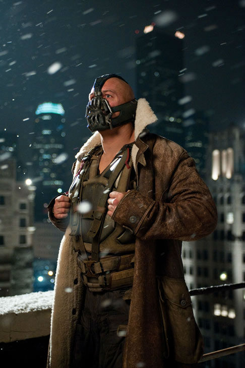 Tom Hardy appears as Bane in 'The Dark Knight Rises,' set to hit theaters on July 20, 2012.