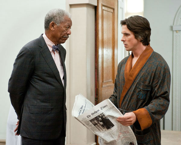 "<div class=""meta ""><span class=""caption-text "">Christian Bale appears as Bruce Wayne and Morgan Freeman as Lucius Fox in 'The Dark Knight Rises,' set to hit theaters on July 20, 2012. (Warner Bros. Pictures/Ron Phillips)</span></div>"