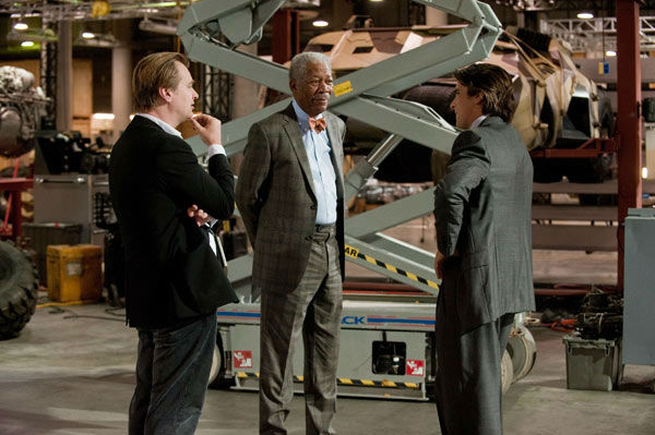 Director Christopher Nolan, Morgan Freeman and Christian Bale appear on the set of &#39;The Dark Knight Rises,&#39; set to hit theaters on July 20, 2012. <span class=meta>(Warner Bros. Pictures&#47;Ron Phillips)</span>