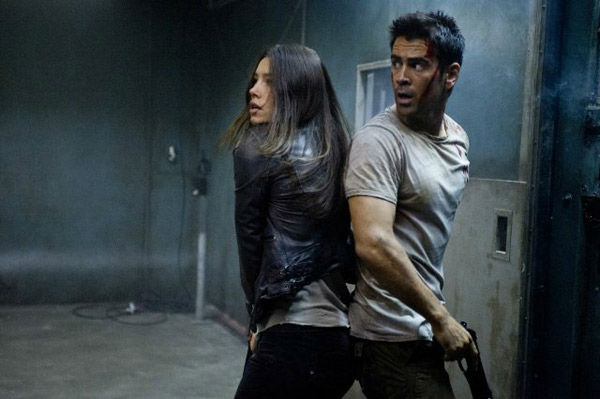 Jessica Biel and Colin Farrell appear in a still from the 2012 film, 'Total Recall.'