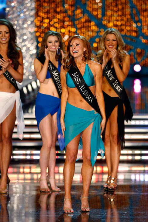 Miss Montana, Alexis Wineman, Miss Alabama, Anna Laura Bryan and Miss New York, Mallory Hagan, appear in the swimsuit competition of 'The 2013 Miss America Pageant' telecast live from th