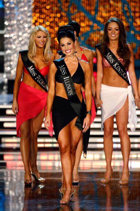 Miss Florida, Laura Mckeeman, Miss Illinois, Megan Ervin, Miss Kentucky, Jessica Casebolt, appears in the swimsuit competition of 'The 2013 Miss America Pageant' telecast live from the Planet Holl
