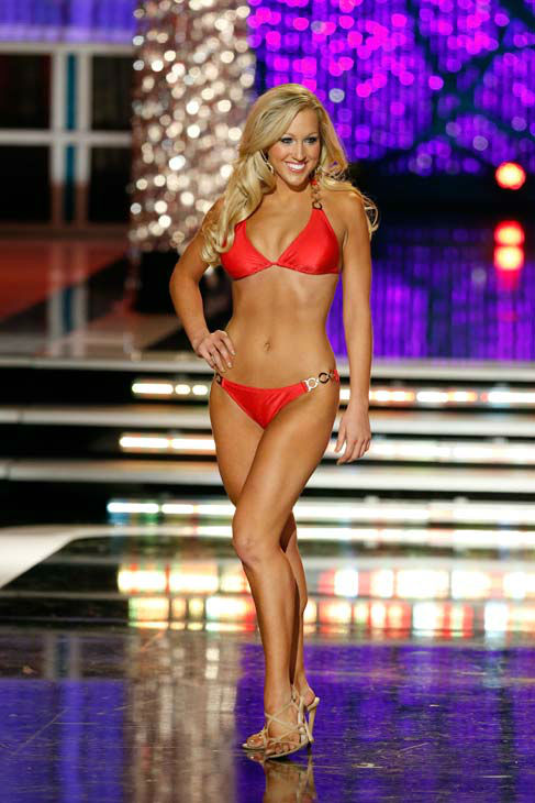 Miss Indiana, Merrie Beth Cox, appears in the swimsuit competition of 'The 2013 Miss America Pageant' telecast live from the Planet Hollywood Resort and Casino in Las Vegas on Saturday, January 12, 2013.