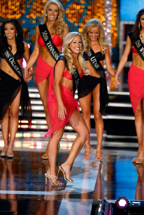 Miss Oklahoma, Alicia Clifton, Miss Tennessee, Chandler Lawson, Miss Indiana, Merrie Beth Cox, Miss Utah, Kara Arnold, appear in the swimsuit competition of 'The 2013 Miss America Pa